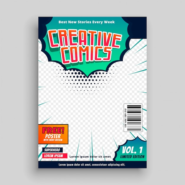 Comic book cover template design Free Vector
