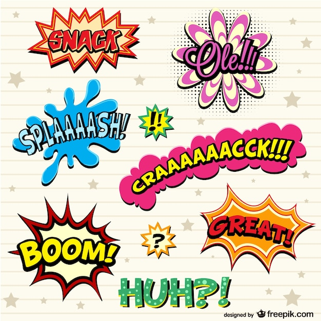 Comic book exclamations set Free Vector