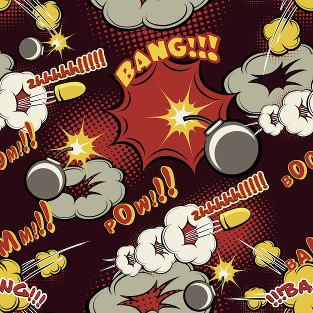 만화 폭발 패턴입니다. 배경, 붐 및 구름, 만화 및 디자인, 만화 및 강타. 무료 벡터