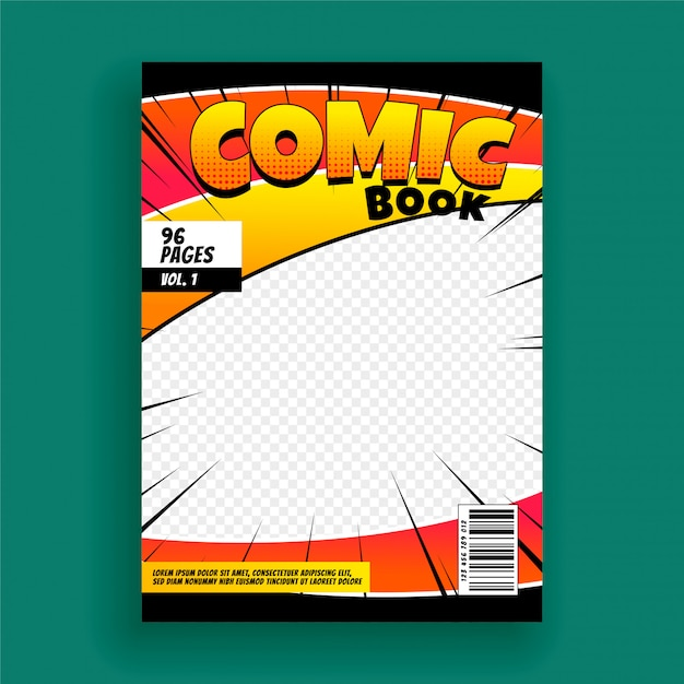 Comic book magazine cover page design template Free Vector
