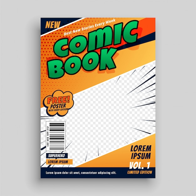 Comic book magazine cover page template Free Vector