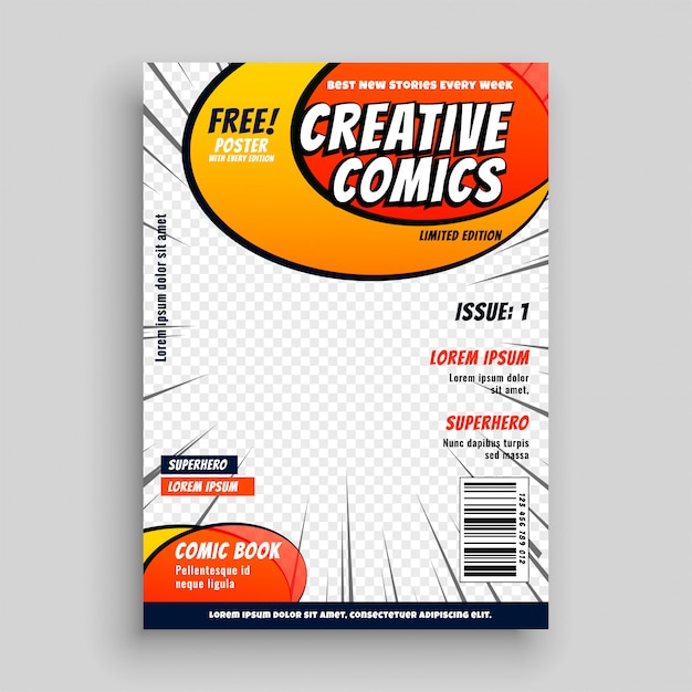 Comic book magazine cover page Free Vector