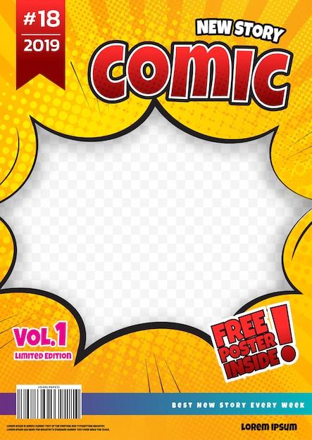 Comic book page design. magazine cover Premium Vector