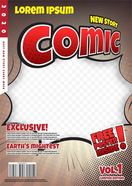 Comic book page template design. magazine cover Premium Vector