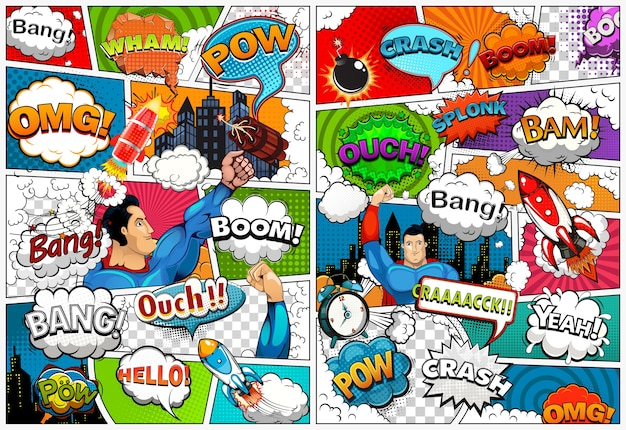 吹き出し、ロケット、スーパーヒーロー、効果音の行で分割された漫画本のページテンプレート。レトロなイラスト Premiumベクター