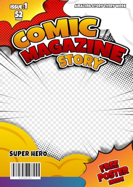 Comic book page template, magazine cover Premium Vector