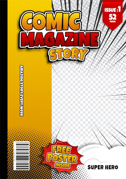 Comic book page template, magazine cover Premium Vector