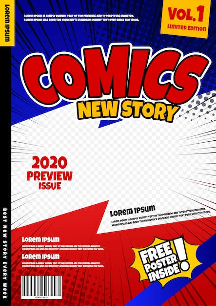 Comic book page template . magazine cover Premium Vector
