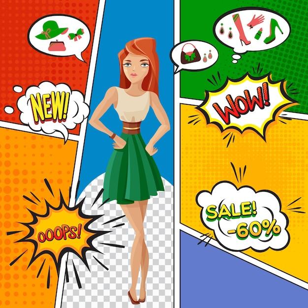 예쁜 여자, 여성 제품 판매, 거품의 감정 표현과 함께 만화 페이지 무료 벡터