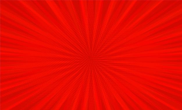 빨간색 배경에 만화 책 팝 아트 스트립 방사형 프리미엄 벡터