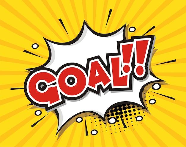 Comic book speech bubble cartoon word goal Vector | Premium