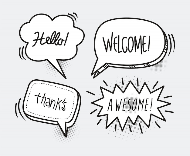 Comic book speech bubble cartoon word hello, welcome, thanks, awesome Premium Vector