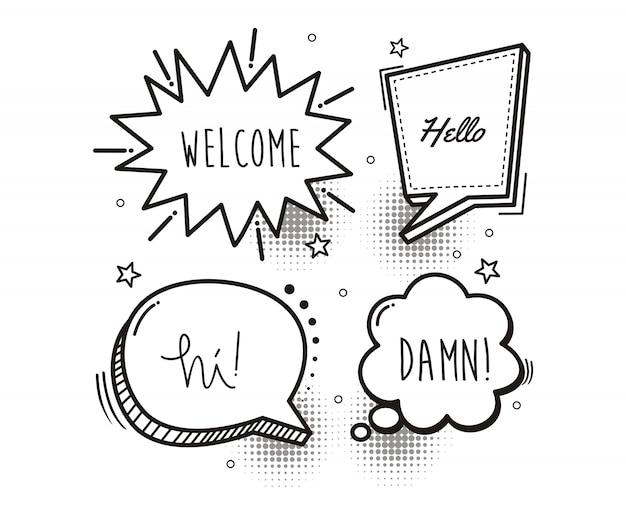 Comic book speech bubble cartoon word welcome, hello, hi, damn Premium Vector