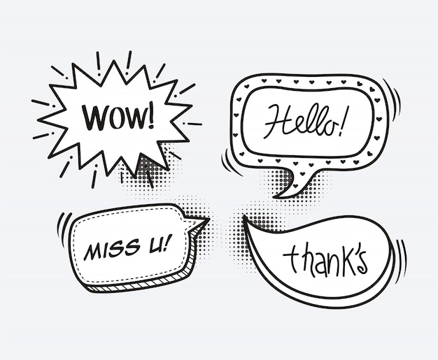 Comic book speech bubble cartoon word wow, hello, miss you, thank Premium Vector