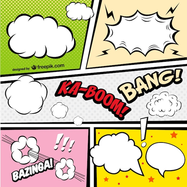Comic Book speech bubbles in different colors Vector | Free Download
