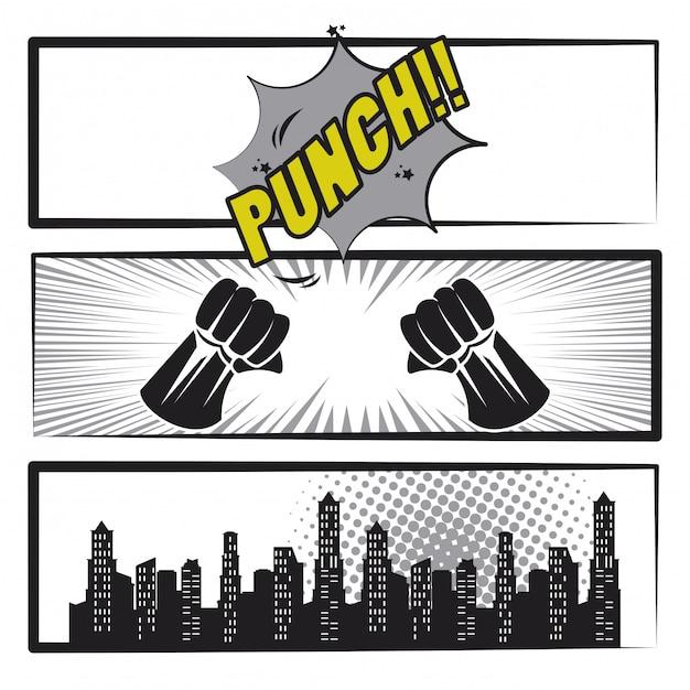 Comic book story pop art cartoon in black and white Premium Vector