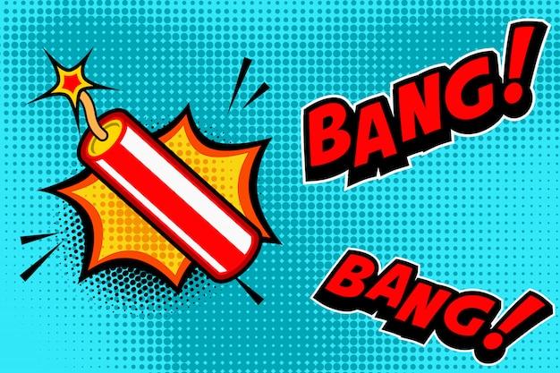 Предпосылка стиля комика с взрывом ручки динамита. элемент для баннера, плакат, флаер. образ Premium векторы