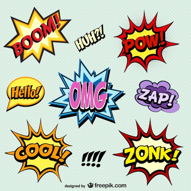 Comic book words onomatopoeia Free Vector