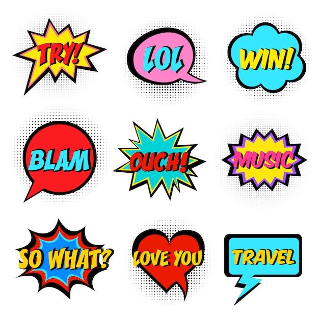 Comic book words Premium Vector
