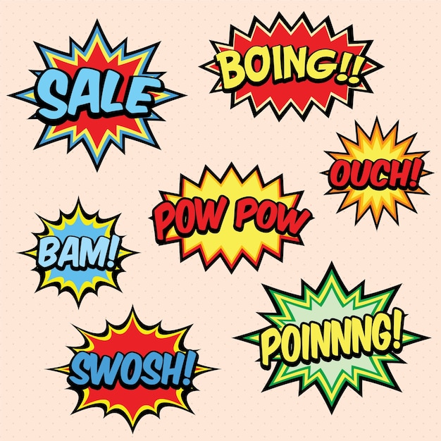 Comic book words Premium Vector