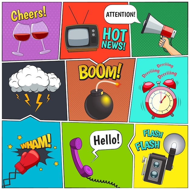 Comic books retro design elements collection with alarm clock and thunderstorm clouds Free Vector