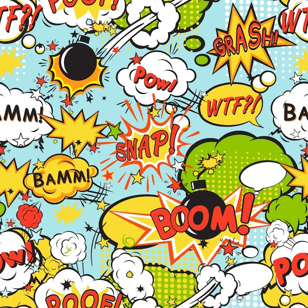 Comic boom seamless pattern Free Vector
