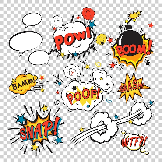 Comic boom set Free Vector
