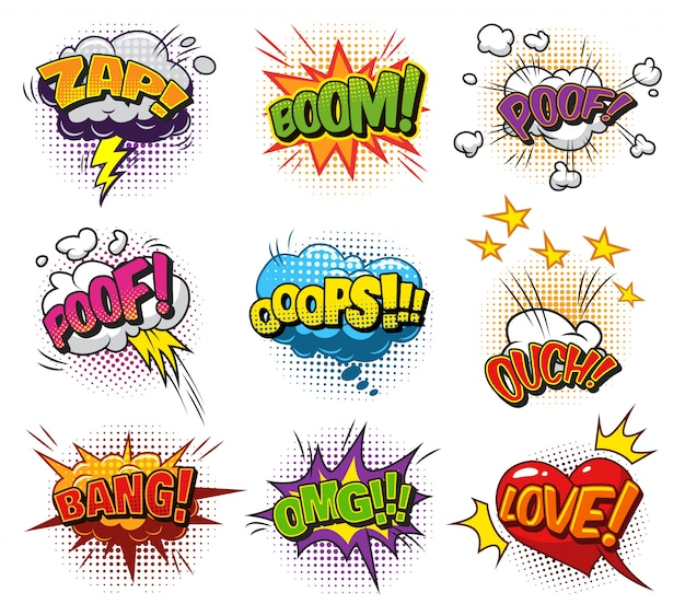 Comic bright speech bubbles set with colorful wordings clouds and halftone humor effects Free Vector