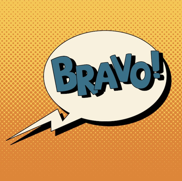 Comic bubble in pop art style with expressions bravo Premium Vector