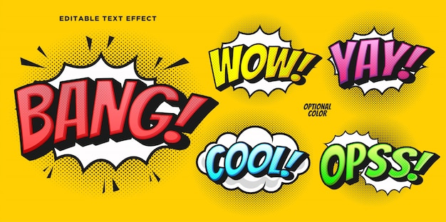 Comic bubble text style effect Premium Vector