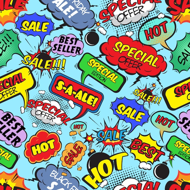 Comic bubbles seamless pattern Free Vector