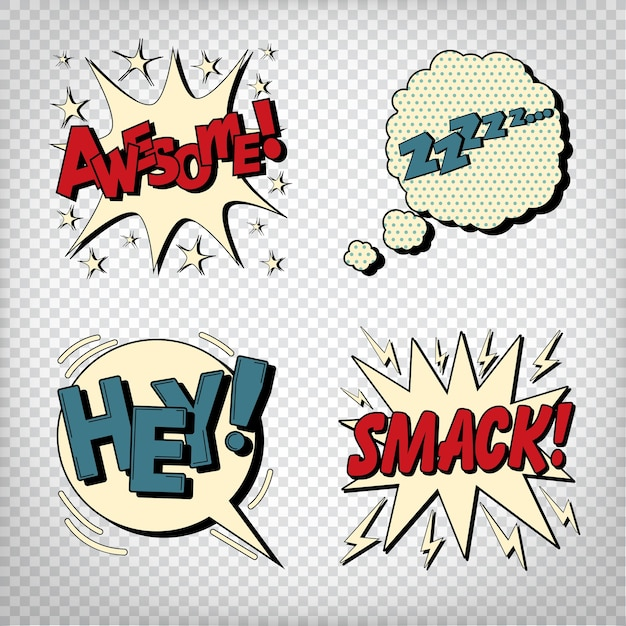 Comic bubbles with expressions Premium Vector