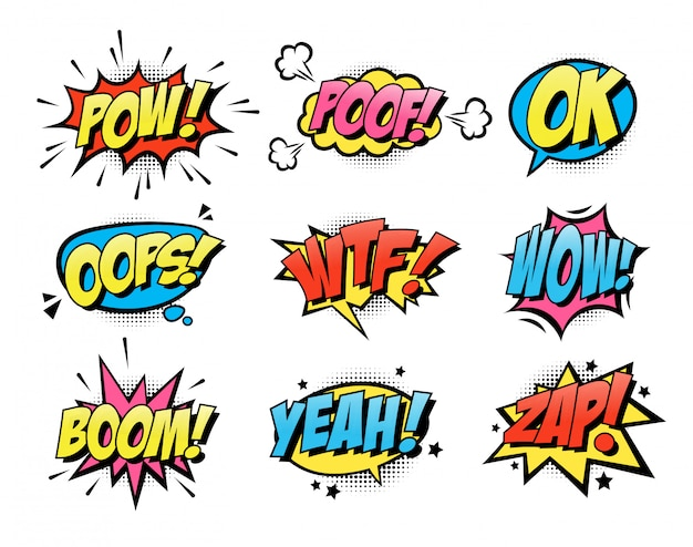 Comic burst text balloons flat icon collection Free Vector