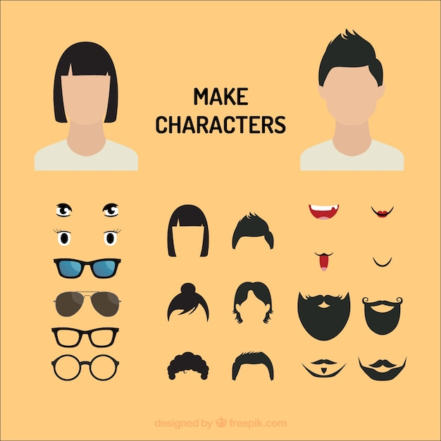 Comic characters eyes and mouths vector Free Vector
