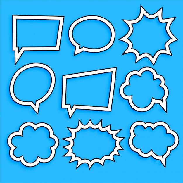 Comic chat bubbles and expression set in line style Free Vector