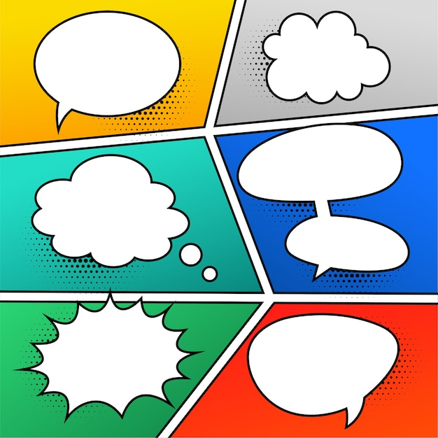 Comic chat bubbles expressions set Free Vector