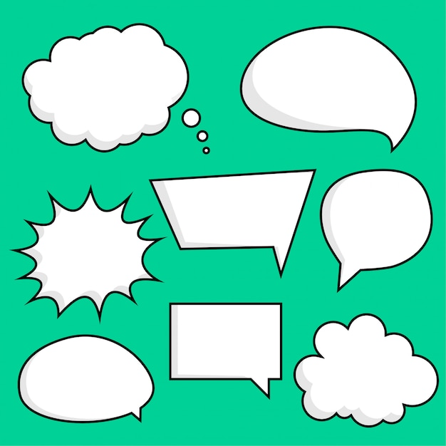 Comic chat bubbles sticker set Free Vector