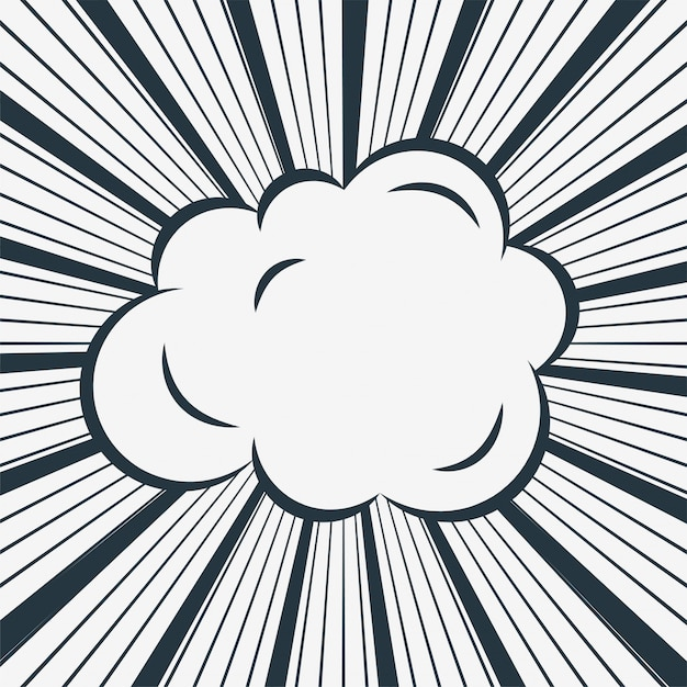 Comic cloud on zoom lines background Free Vector