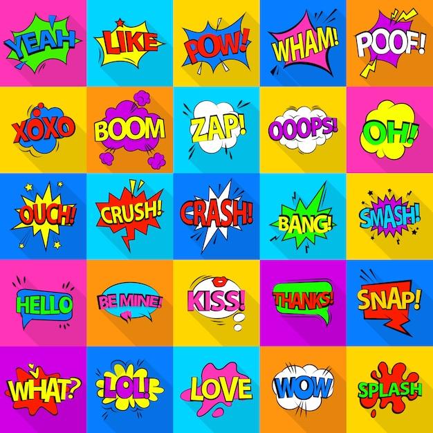 Comic colored sound icons set. flat illustration of 25 comic colored sound icons for web Premium Vector
