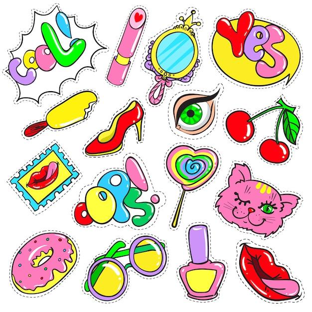 Raccolta di toppe colorate comiche Vettore gratuito