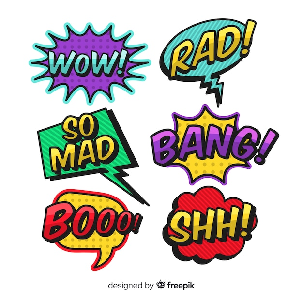 Comic colorful speech bubble collection Free Vector