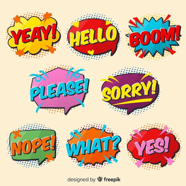 Comic colorful speech bubbles expressions variety Free Vector