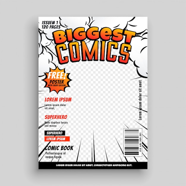 comic book cover template psd comic cover template design layout | free vector