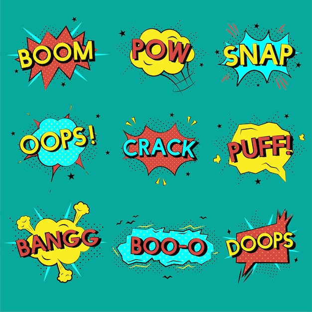 Comic effects Free Vector