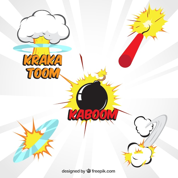 Comic explosions pack Free Vector