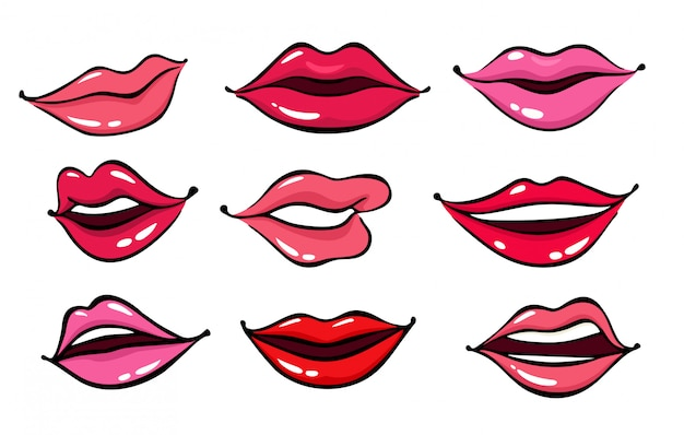 Comic female lips Premium Vector