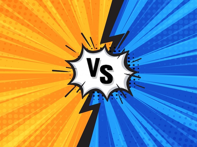Comic fighting cartoon background. blue vs yellow. vector illustration. Premium Vector