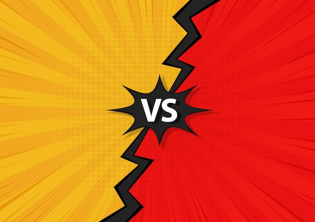 Comic fighting cartoon background.yellow vs red. vector illustration design. Premium Vector