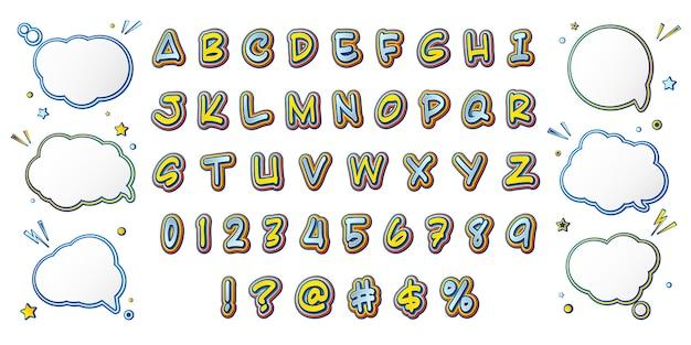 Comic font, cartoonish yellow-blue alphabet and set of speech bubbles Premium Vector