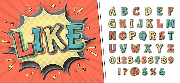 Comic font. retro alphabet on comic book page Premium Vector
